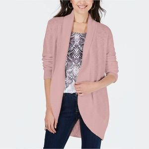NWT Style & Co Shawl-Lapel Open Cardigan Hibiscus